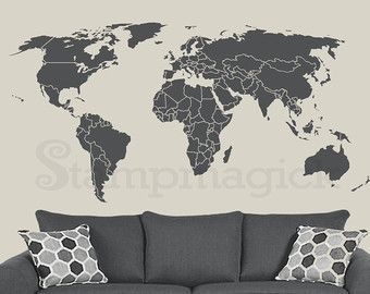 World map wall decal world map decal vinyl wall art mural world map wall decal sticker for kids bedroom nursery or home design k135dg world map wall decal choice of removable matt vinyl chalkboard or white gumiabroncs Choice Image