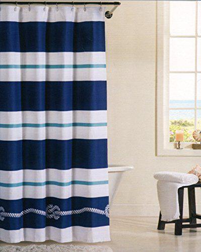 100 Cotton Shower Curtain Nautical Rope Marine Design Fabric