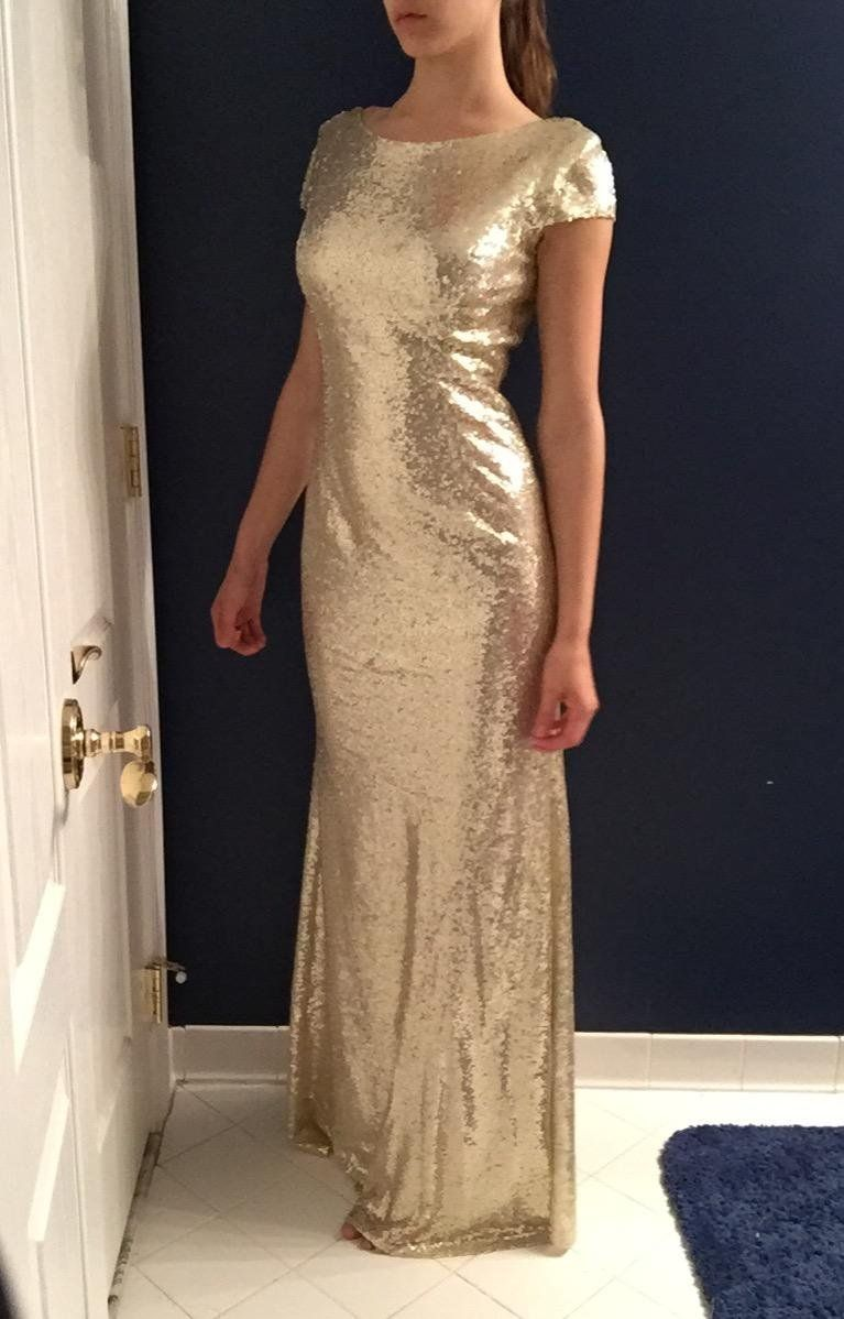 Brilliant gold sequin mermaid floor length short sleeves backless
