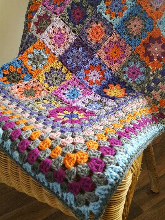 Gehäkelte Decke Kaleidoskop Blume Oma Quadrate afghanischen ...