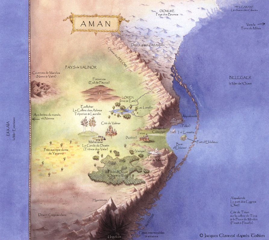 Map Of Aman Showing The Dwellngs Of The Valar By Jacques Calvreul