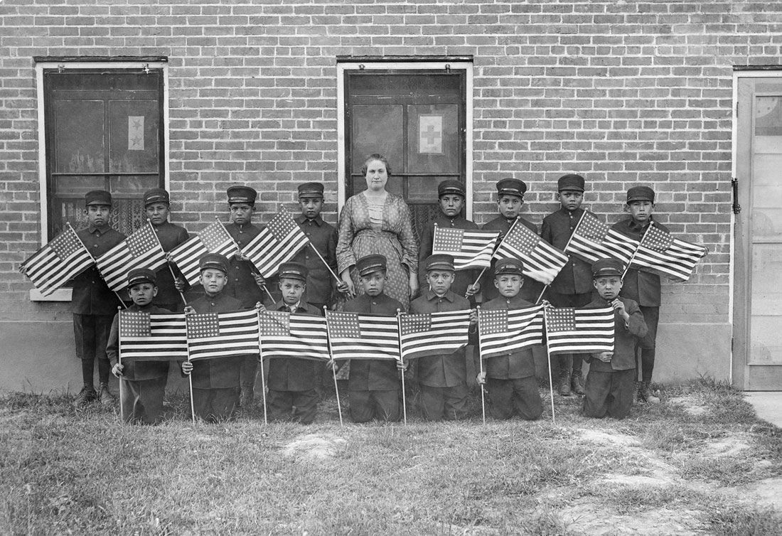 Unknown Artist Albuquerque Indian School Boys with Flags