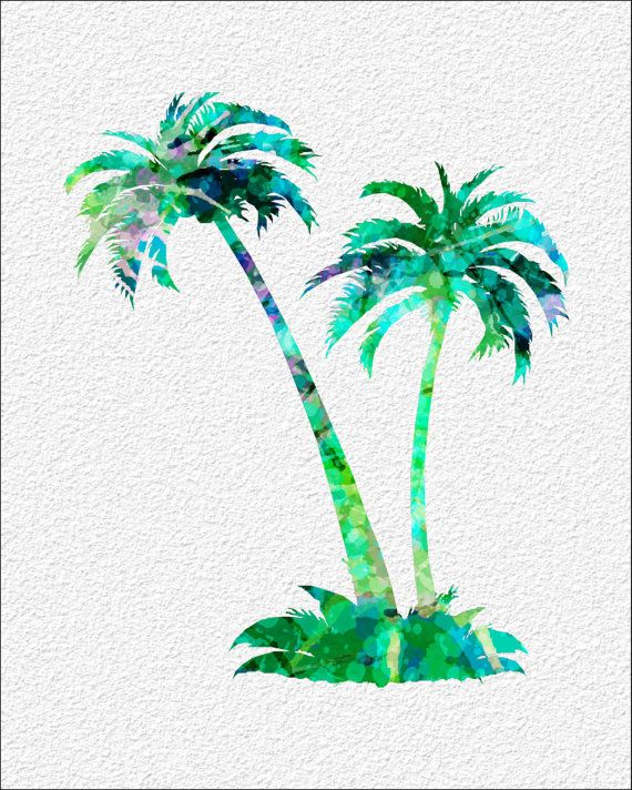 Palm Trees Watercolor Art Print 8 X 10 Teal By Imagedesignstudio