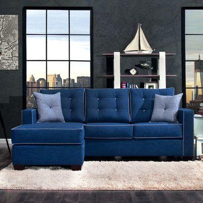 Hokku Designs Urban Valor Left Hand Facing Sectional Blue Sofas Living Room Blue Sofa Set Blue Couch Living Room