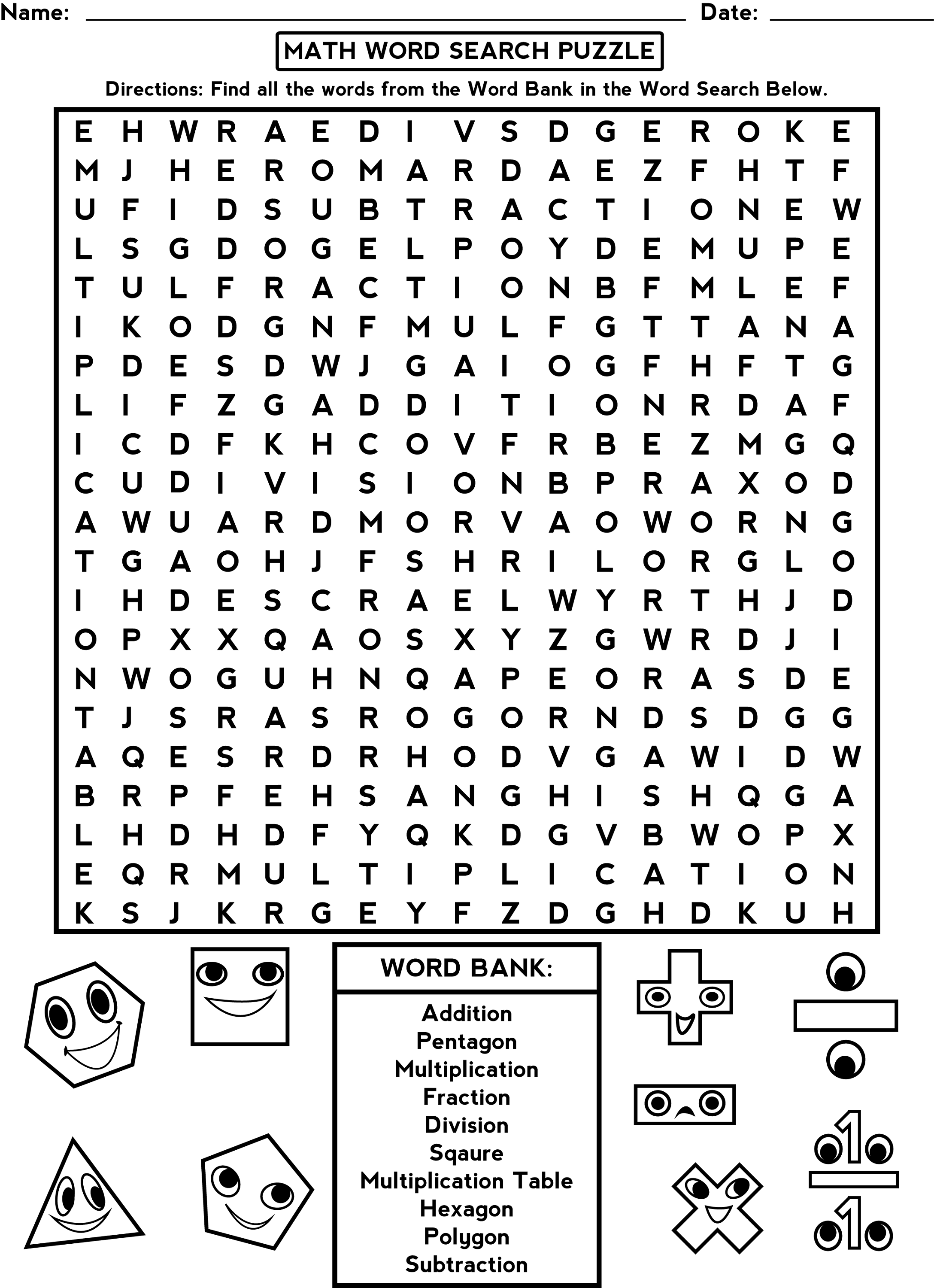 Fun Math Activity Worksheets Middle School
