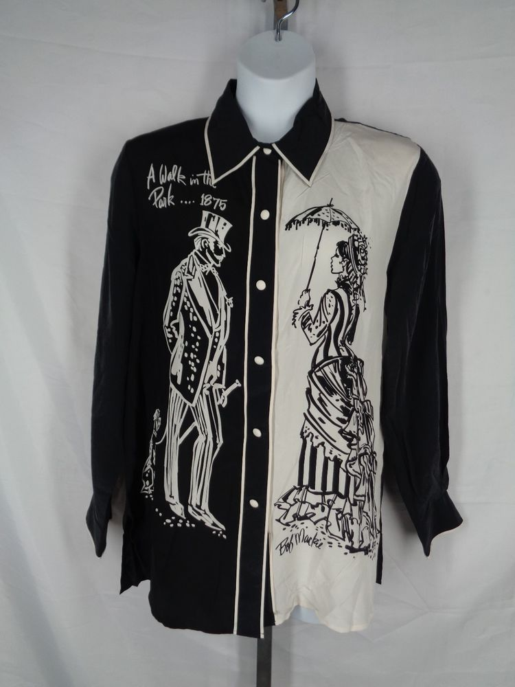 df794845adf2c Bob Mackie Wearable Art Black Ivory Cream Silk Shirt Large Walk in the Park  New