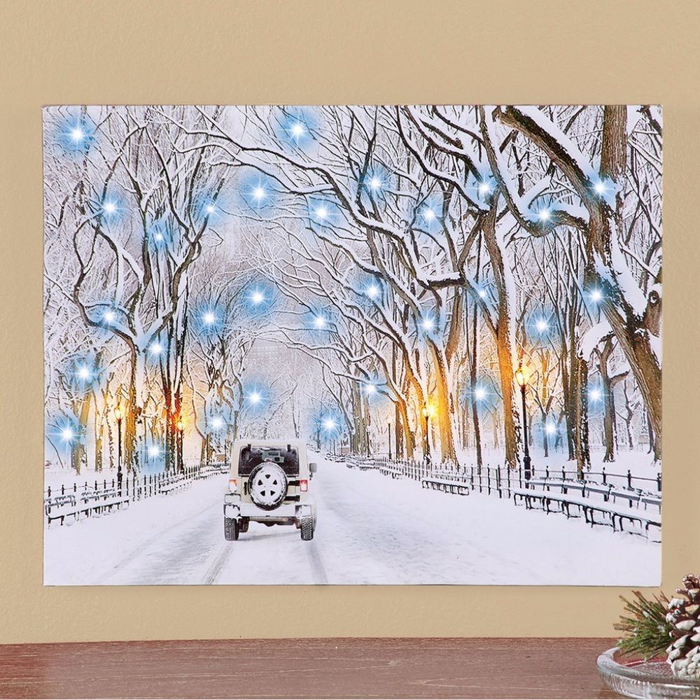 Jeep on snow covered winter road lighted wall canvas art