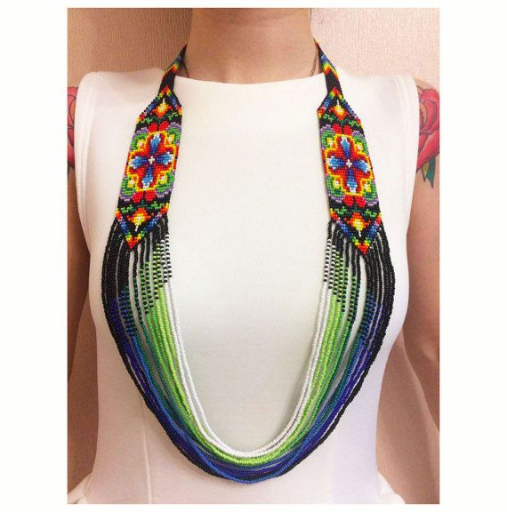 Flower of Happiness Ukrainian Gerdan Bead Necklace, Bead Loom ...
