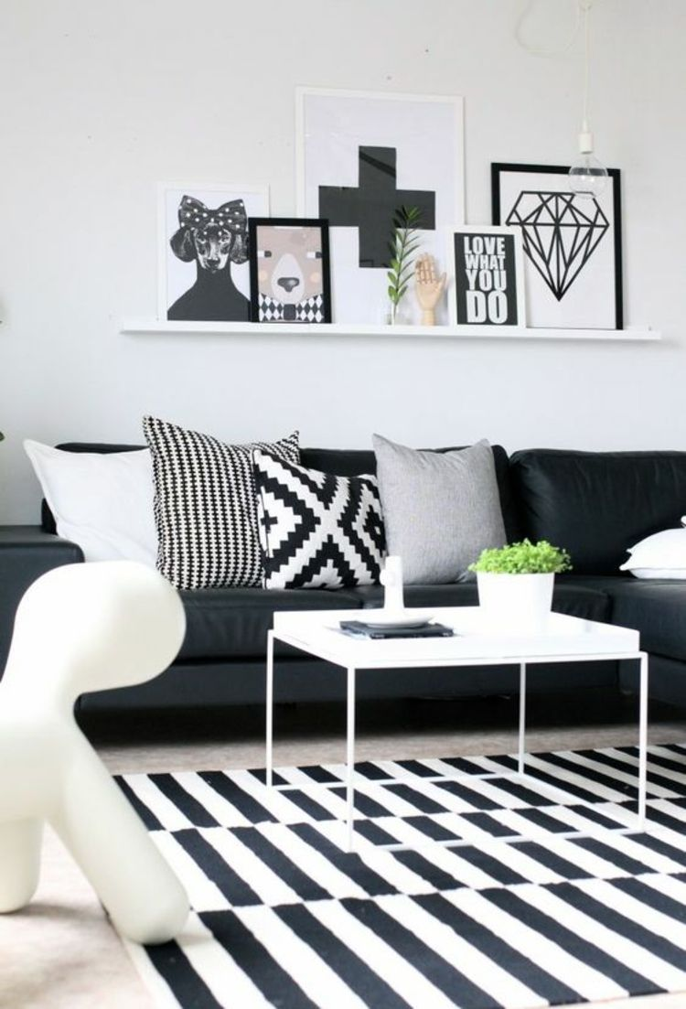 Fotowand Ideen Wohnzimmer Wand Bilderrahmen Schwarz Weiss 750x1103