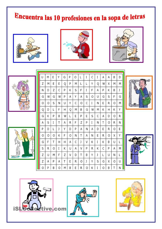 PROFESIONES | Español - Solamente | Spanish worksheets, Elementary ...