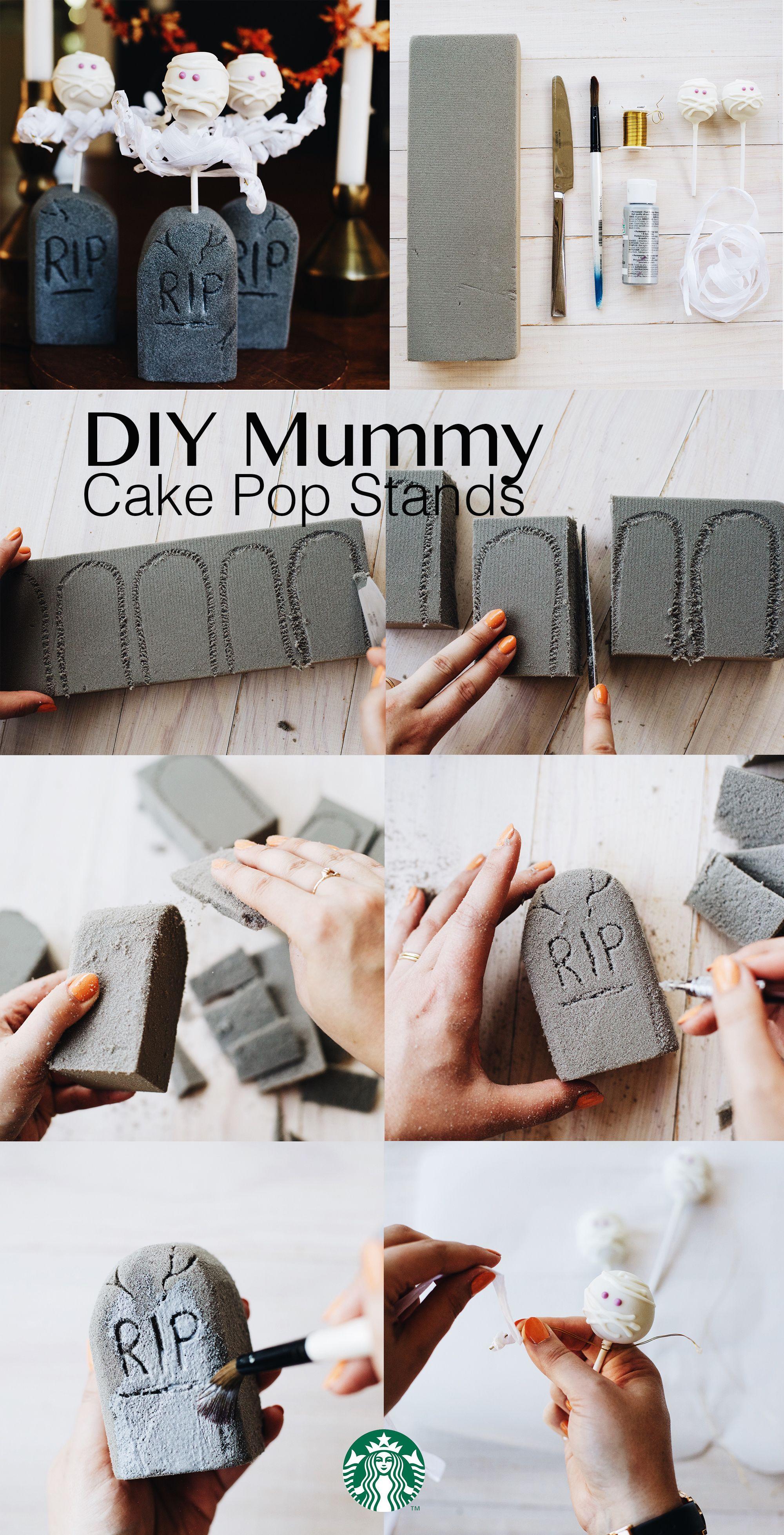 Starbucks Mummy Cake Pop Stands 1 Cut Headstone Shapes