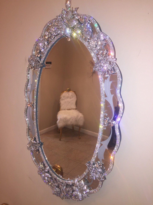Rhinestone Wall Mirror rhinestone encrusted wall mirror | walls and etsy