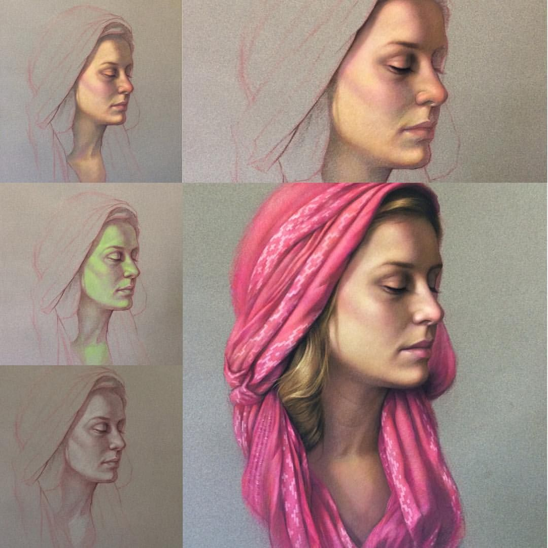 """3,433 Likes, 57 Comments - Cuong Nguyen (@icuong) on Instagram: """"Step by step for realistic skin tone. """"Draped in Pink"""", pastel on Sennelier la carte paper. If…"""""""