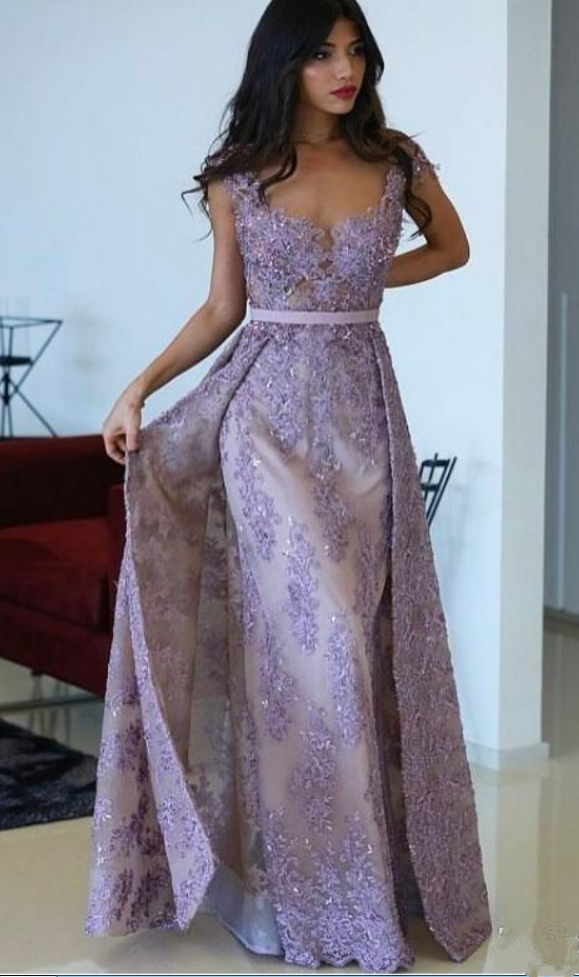 Purple Evening Gowns With Detachable Train Lace Applique Sheer Jewel ...
