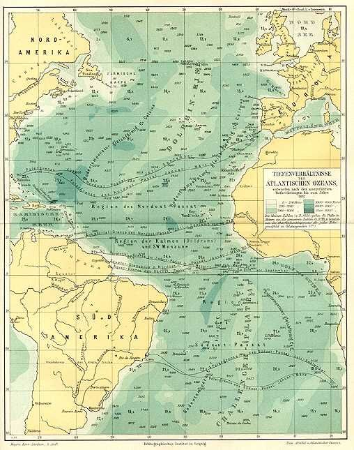S Meyers ATLANTIC OCEAN DEPTH RATIOS TIEFENVERHÄLTNISSE DES - Ocean depth map