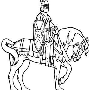 Knight Knight Patroling On Horse Coloring Page Knight Patroling