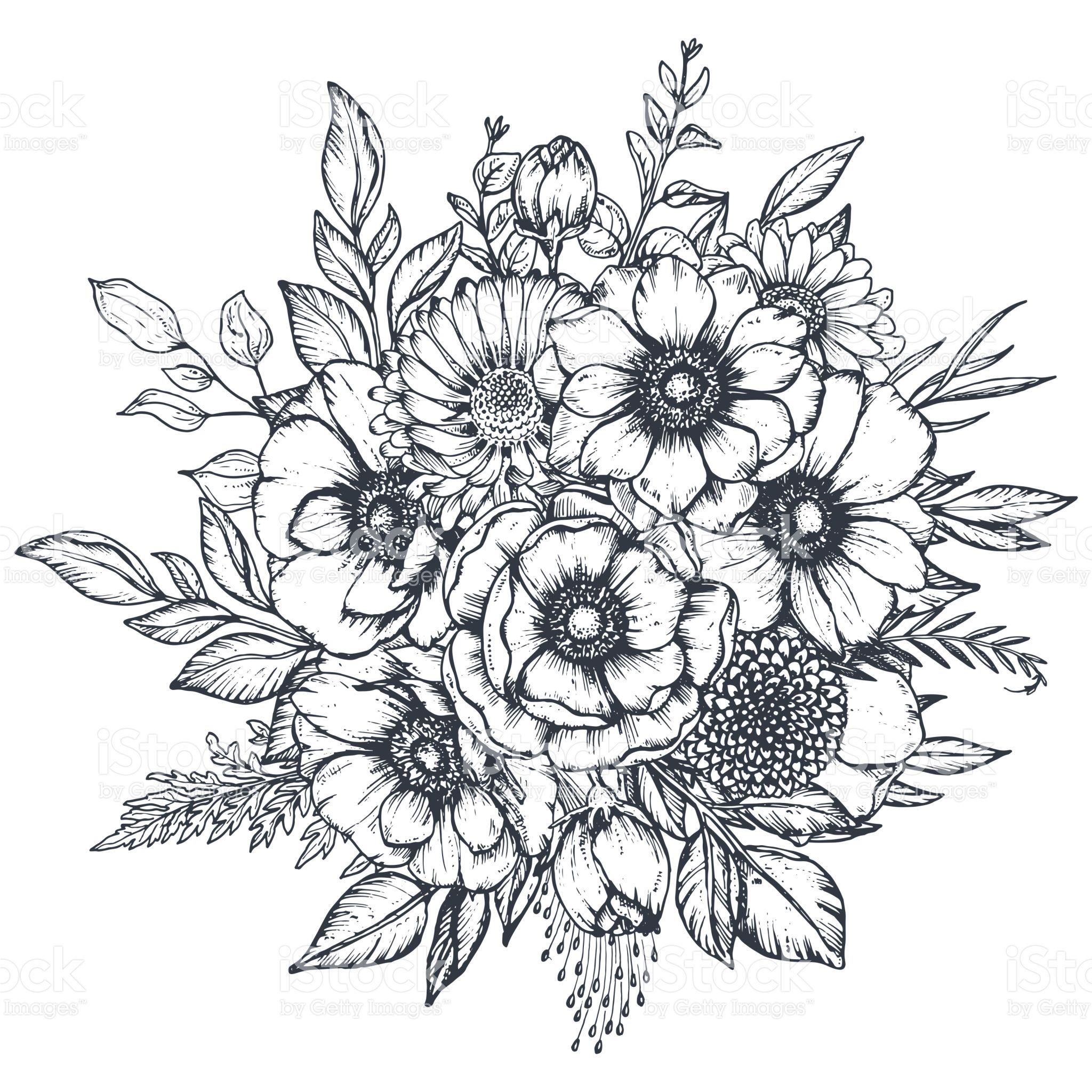 Vector black and white floral composition, bouquet of hand