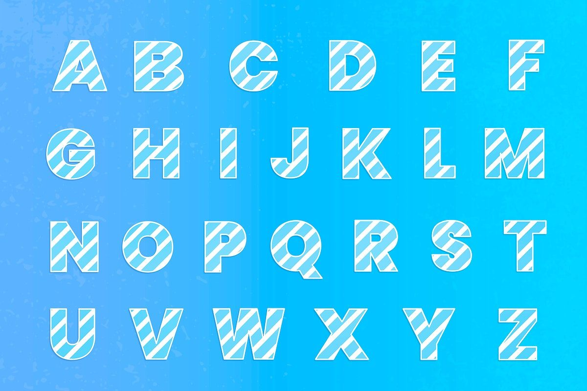 Download free psd of Gradient striped A-Z alphabet