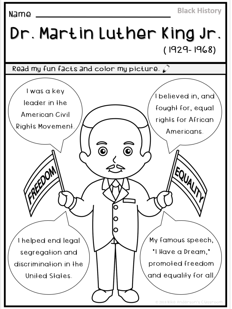 Mlk Free Coloring Page For Martin Luther King Day And Black History Month Black History Month Printables Black History Month Crafts Black History Facts