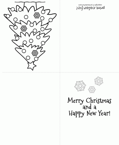 photograph regarding Free Printable Christmas Cards to Color called Xmas tree greeting card Cosas para comprar