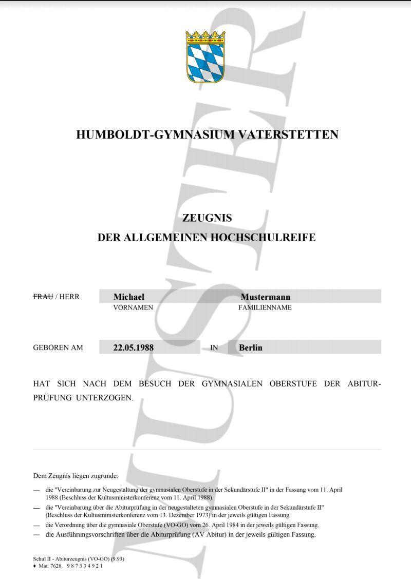 Hochschulreife ▻ Deutsches Abitur kaufen ▻ Reproduktion nach ...