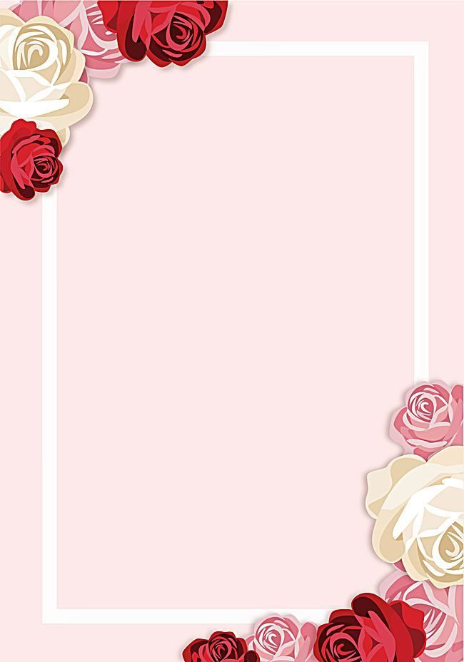 Vector Painted Pink Roses Border Background in 2020