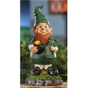 Garden Gnome St Patricks Day Leprechaun Outdoor Decoration Green 9inch Decor