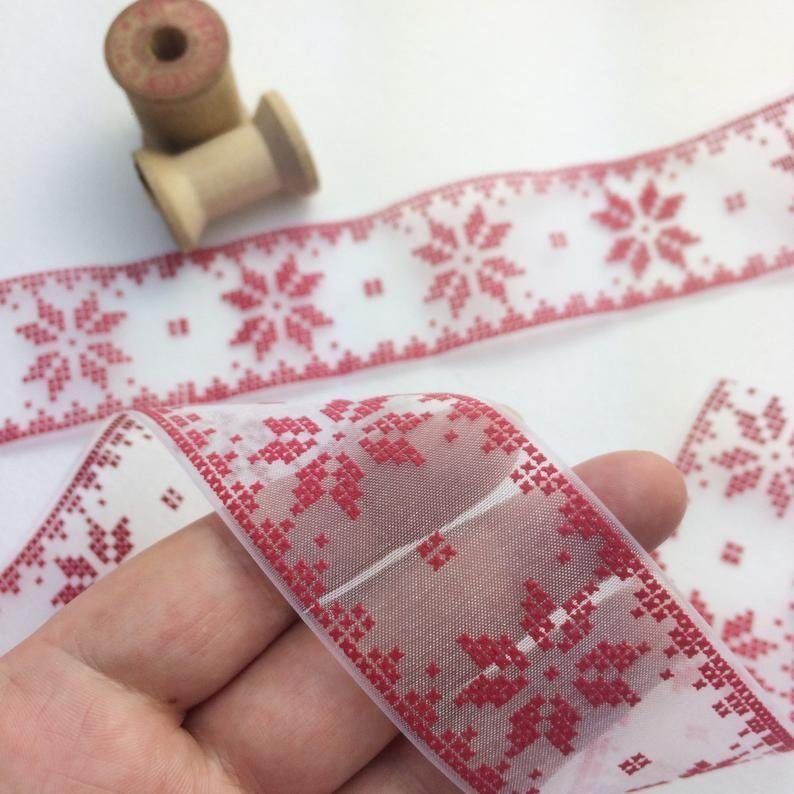 Red Scandinavian Snowflake Ribbon Sheer Snowflake Ribbon Etsy In 2020 Red Cross Stitch Nordic Snowflake Snowflake Designs