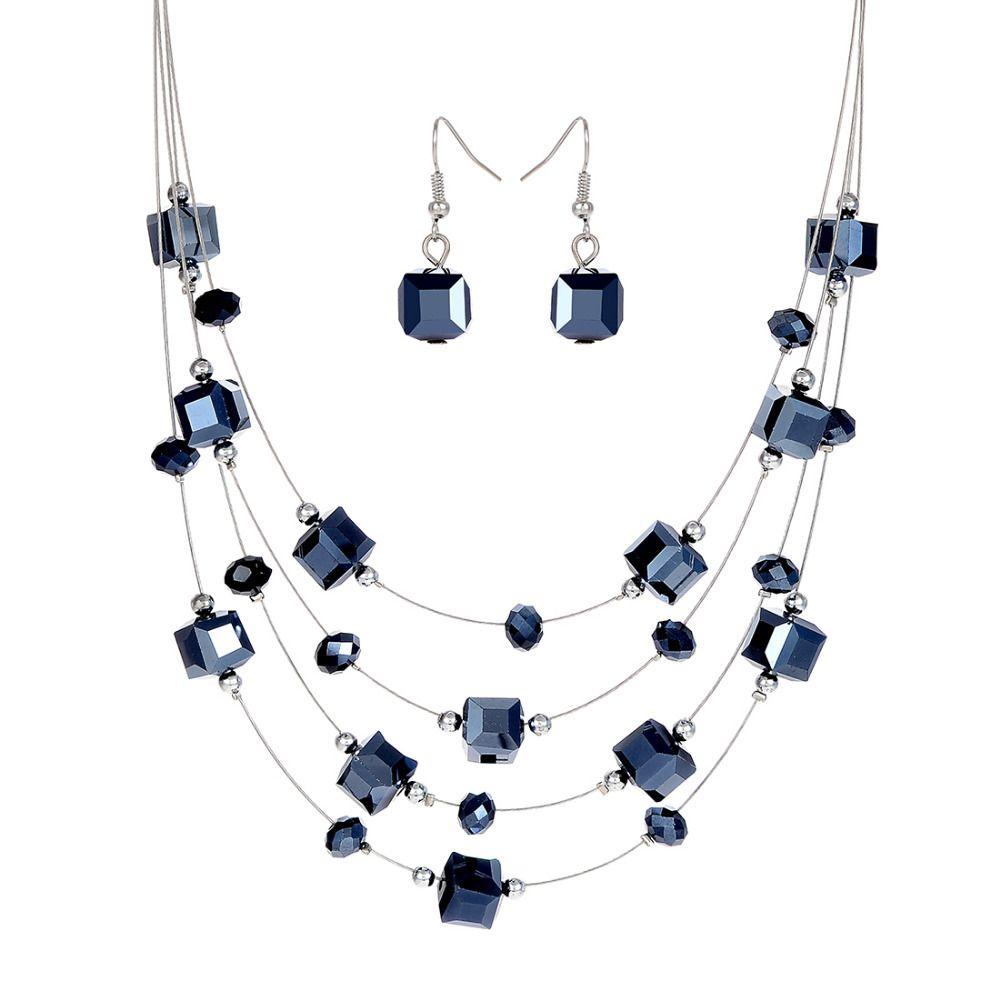2 stücke Silber Farbe Silber Überzogene Halskette Ohrringe Für Frauen Schmuck-Set frauen Hochzeit Schmuck Sets Royal Blue Kristall heißer