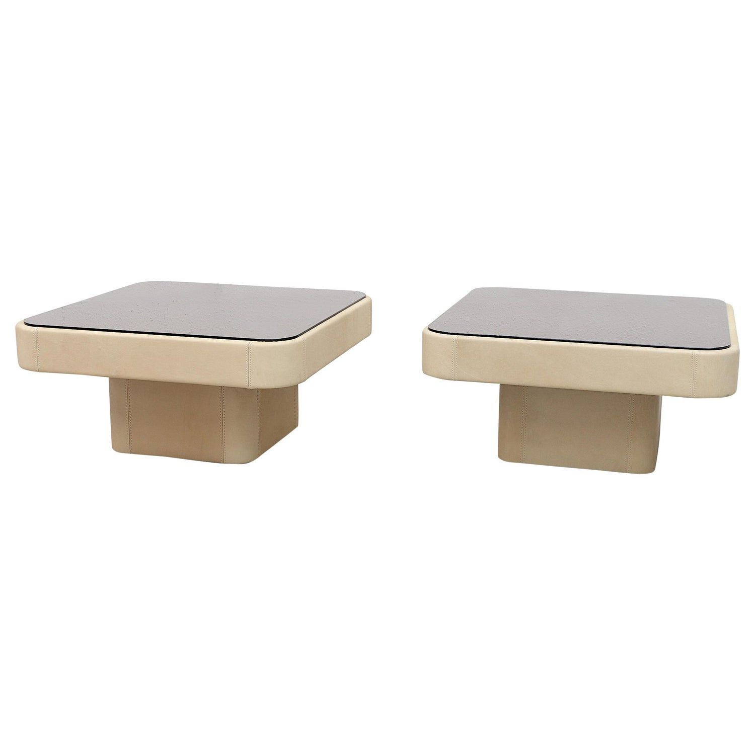Pair Of De Sede Creme Leather Coffee Tables Leather Coffee Table Square Glass Coffee Table Glass Cocktail Tables [ 1500 x 1500 Pixel ]