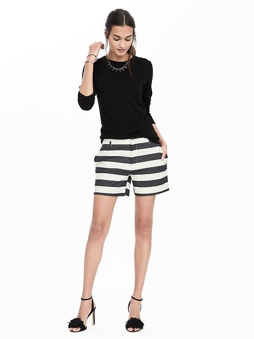 Our black and white striped cotton blend shorts are the perfect piece to give your look that cool-girl feel | Banana Republic