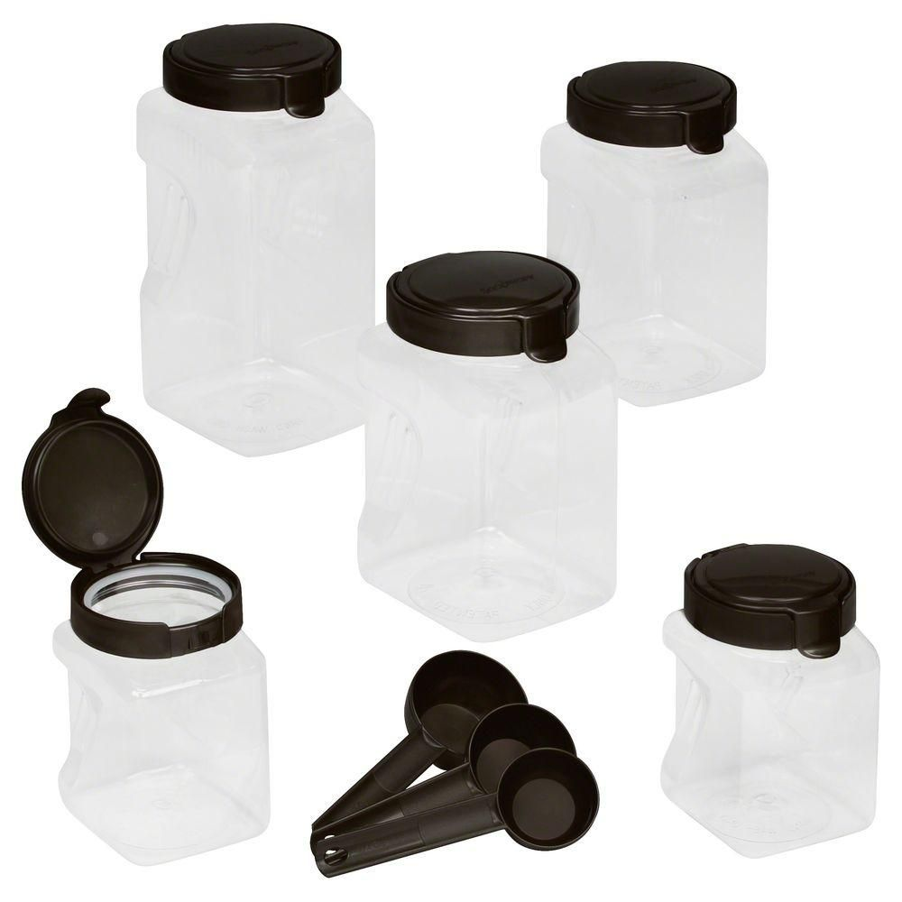 10 Piece Airtight Food Storage Square Canister Set Clear Black Lids Airtight Food Storage Snapware Food Storage Containers