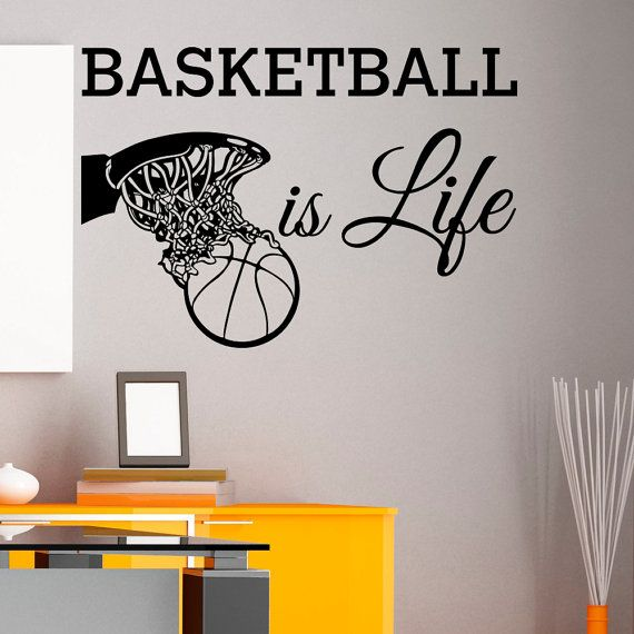 Basketball Is Life Wall Decal Quote Basketball by FabWallDecals Sport Wall Decal Sport Wall