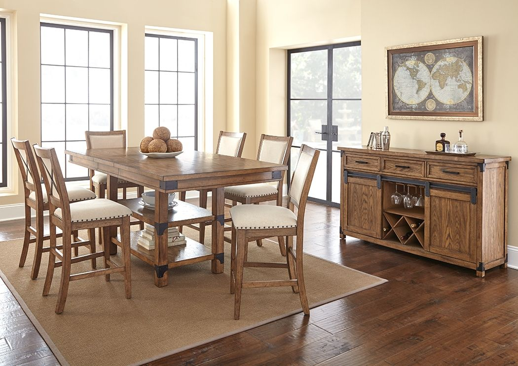 Casual Counter Height Dining Table With Storage Base And Server