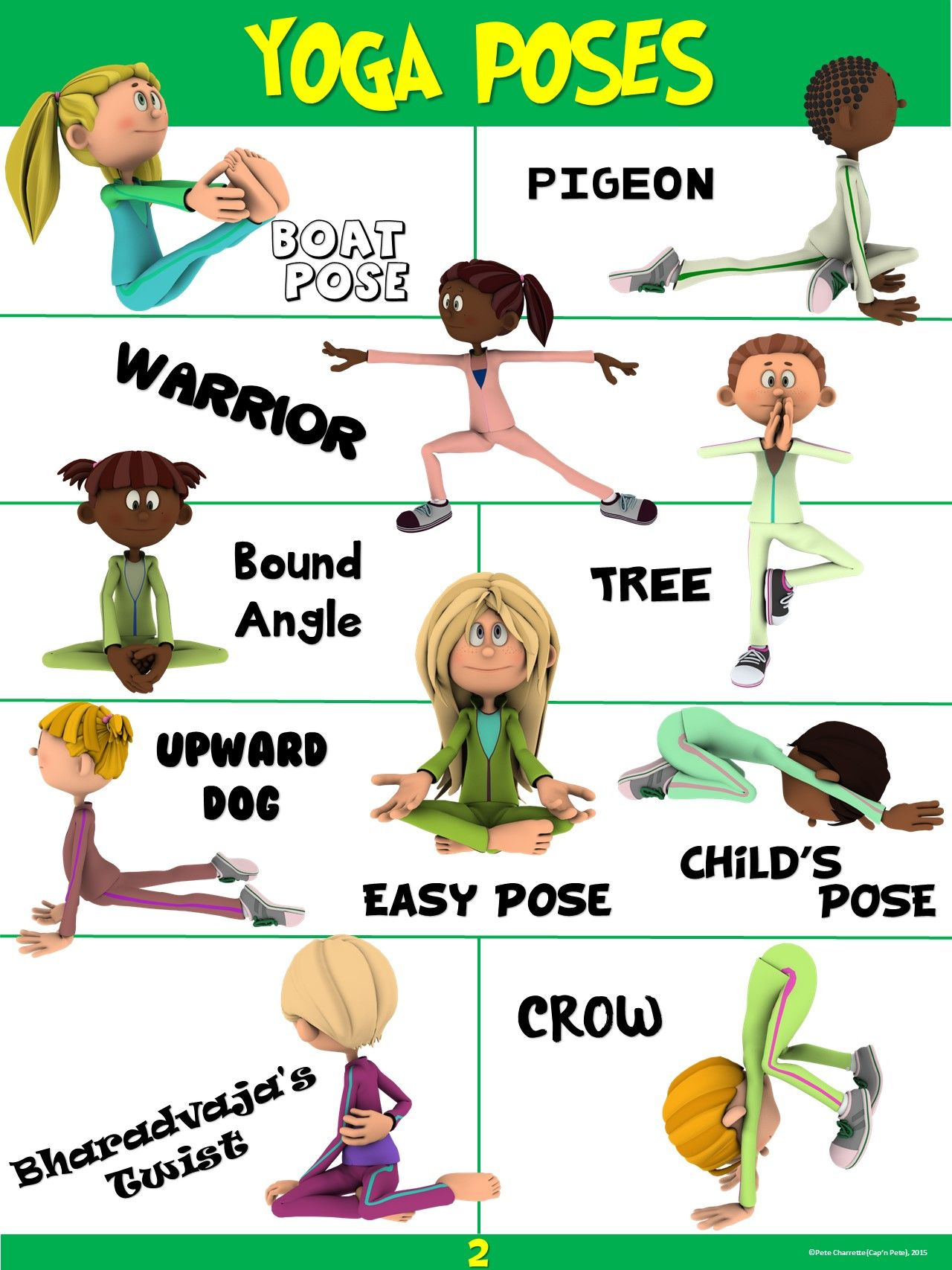 Pe Poster Yoga Poses 2 Elementary Physical Education Physical