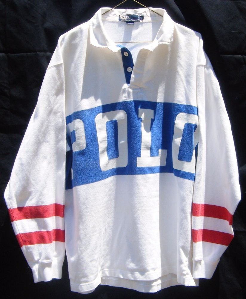 Vintage Polo by Ralph Lauren Spell Out Tennis Rugby Shirt XL Rare Grunge  Hip Hop