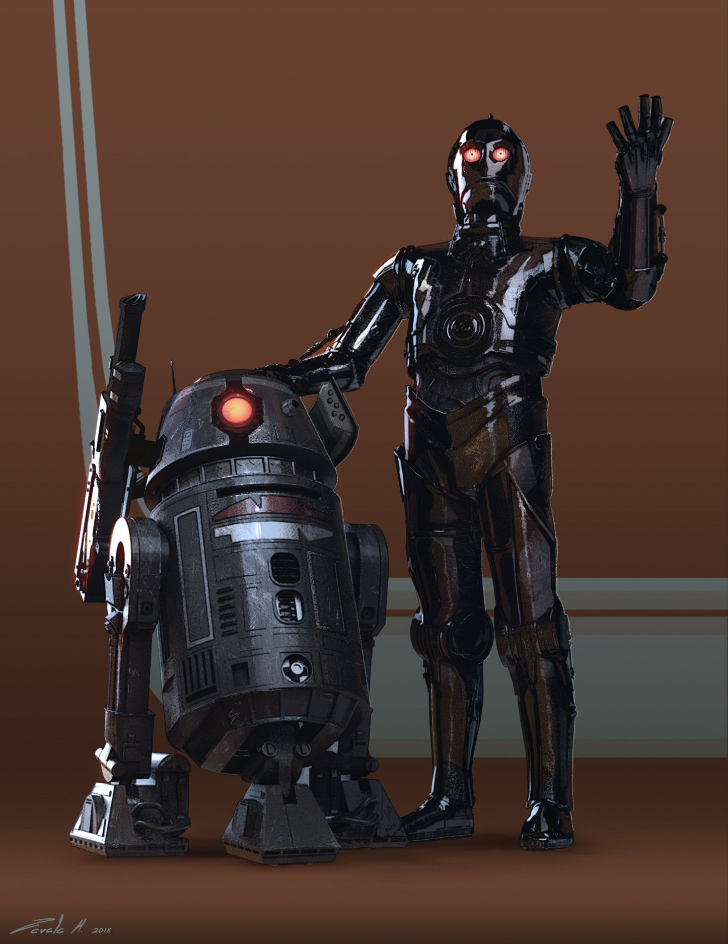 Artstation Bt 1 And 0 0 0 Stephen Zavala Star Wars Rpg Star Wars Canon Star Wars Droids
