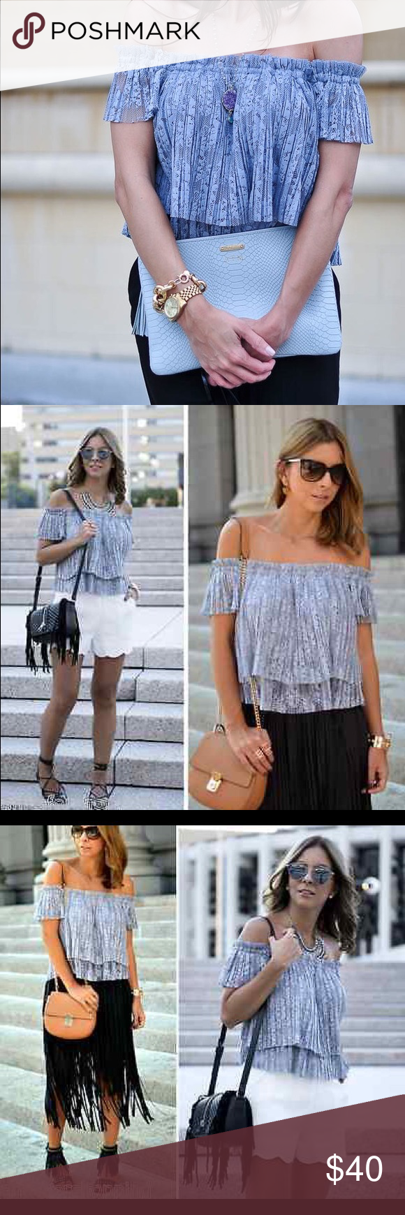 Zara Off Shoulder Top L Bluish/Lavender off shoulder lace top. A bit cropped. Hottest trend of the season. New with tags. Zara Tops Crop Tops