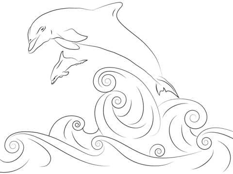 Dolphins Jumping Out Of Water Coloring Page Free Printable Coloring Pages Dolphin Coloring Pages Coloring Pages Dolphin Drawing