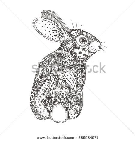 Rabbit With Ethnic Floral Doodle Pattern Coloring Page Zendala
