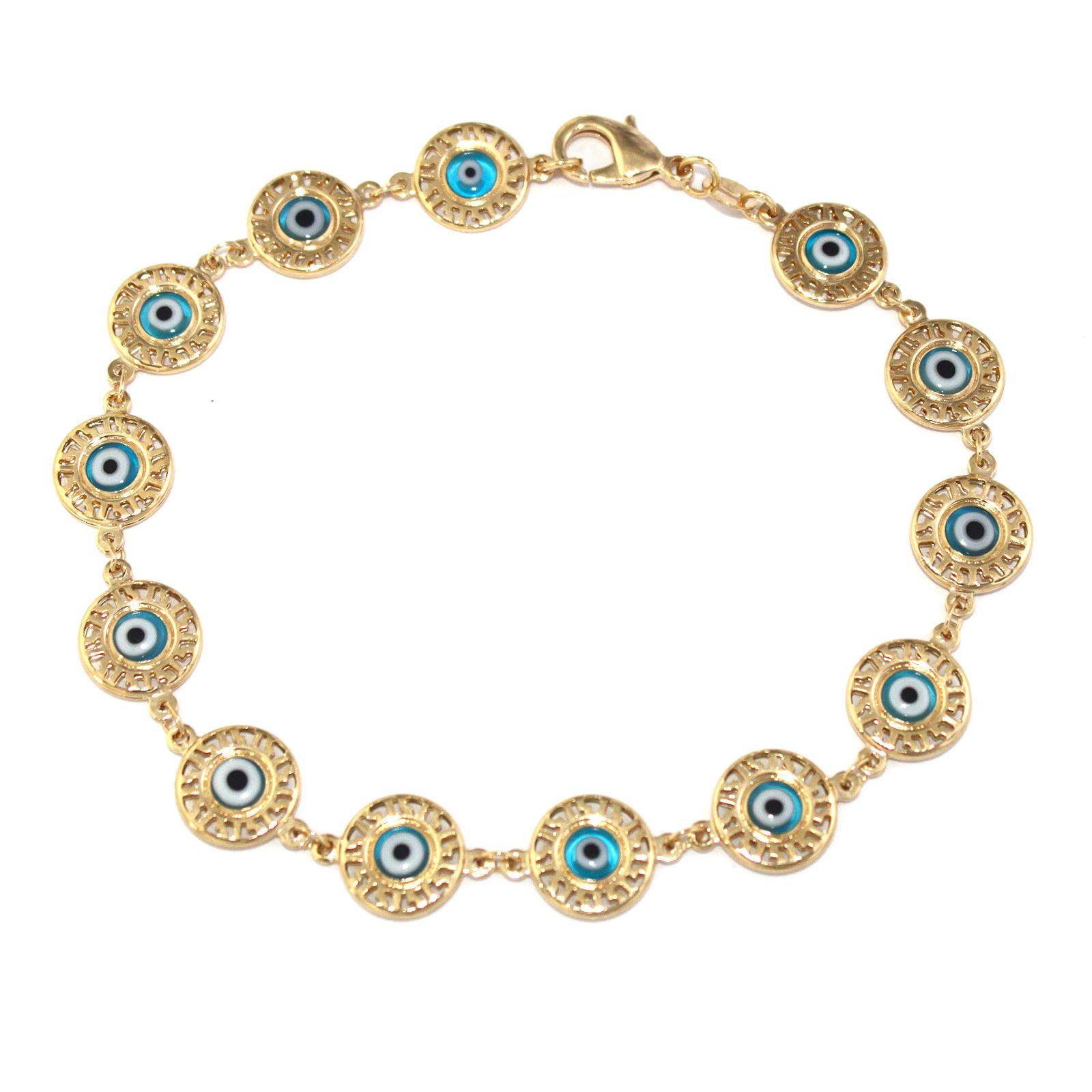 Gold plated bracelet women jewelry medal blue turkish evil eye lucky
