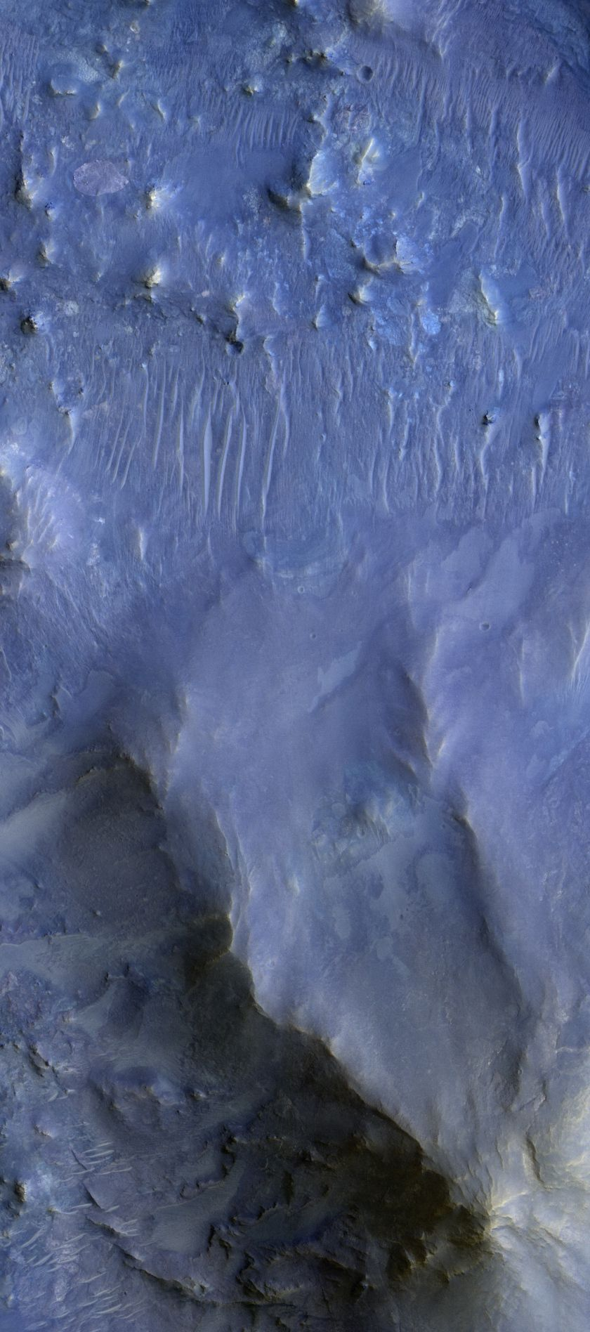 Martian Crater Rich in Opal - As per the CRISM imaging spectrometer on board the Mars Reconnaissance Orbiter.