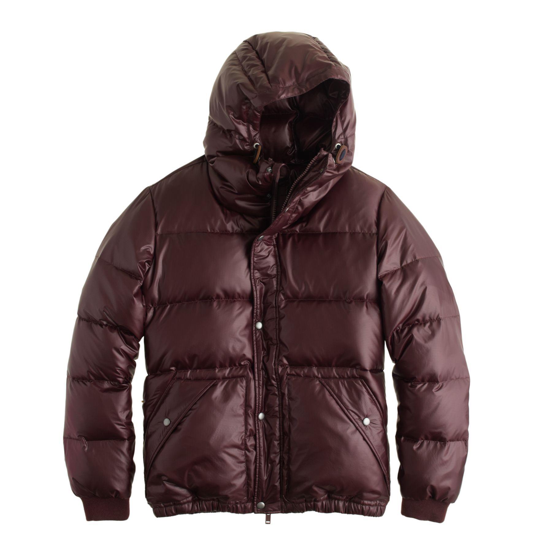 J.Crew men's hooded puffer jacket in vintage merlot