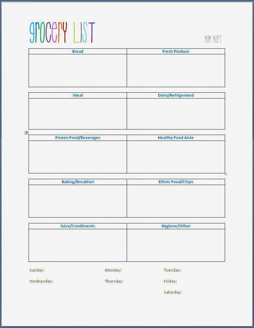 Grocery Shopping Template #FreePrintable for a weekly grocery list ...