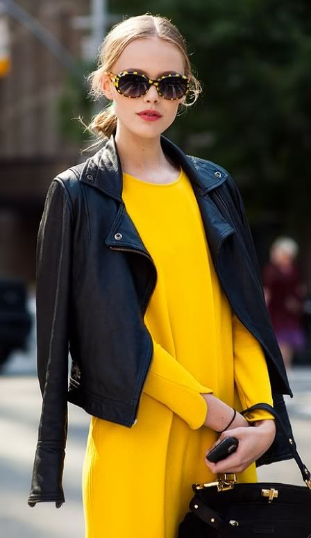 Color-blocking with leather