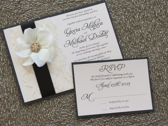 17 Best images about Wedding Invitations – Black Lace Wedding Invitations