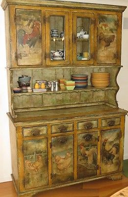 Antique French Country Cupboard W Hand Painted Roosters