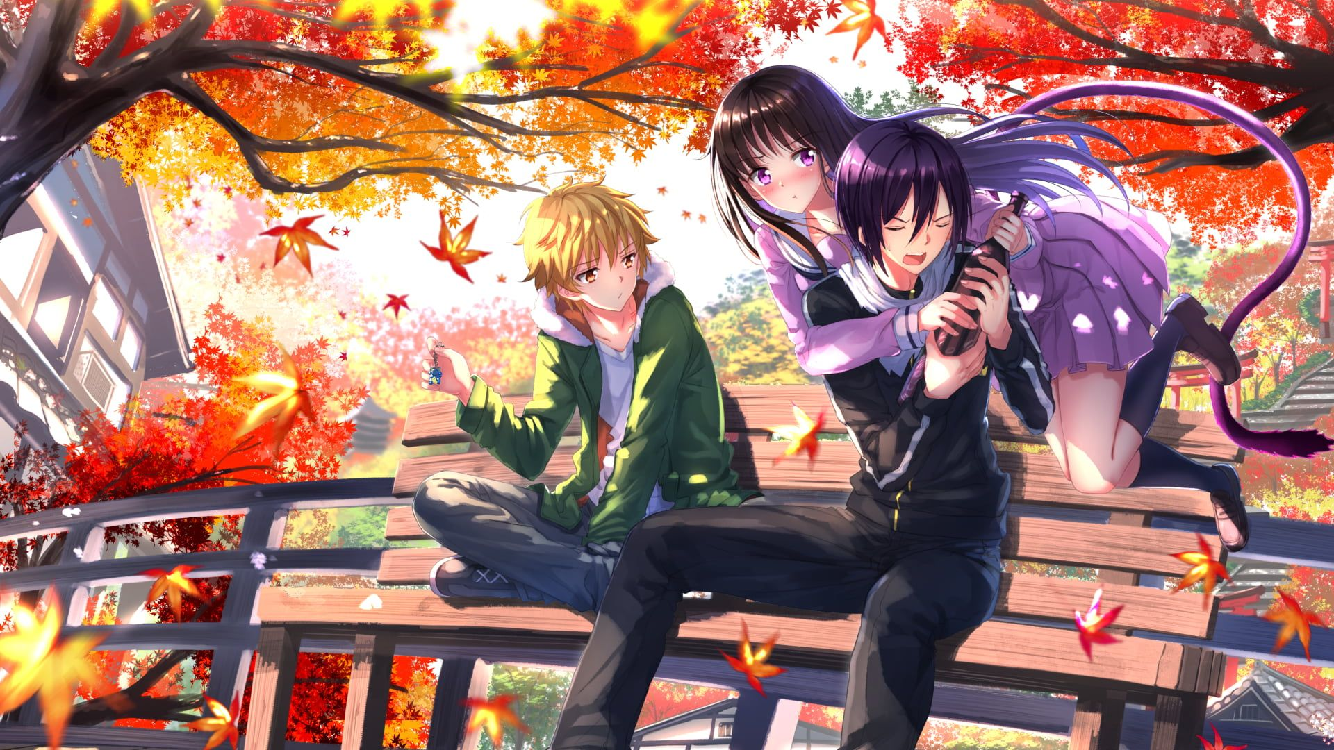 Two Men And Woman Anime Characters Wallpaper Two Men Sitting On Bench And Girl With Purple Dress Anime Characters Anime In 2020 Noragami Anime Yato Noragami Noragami