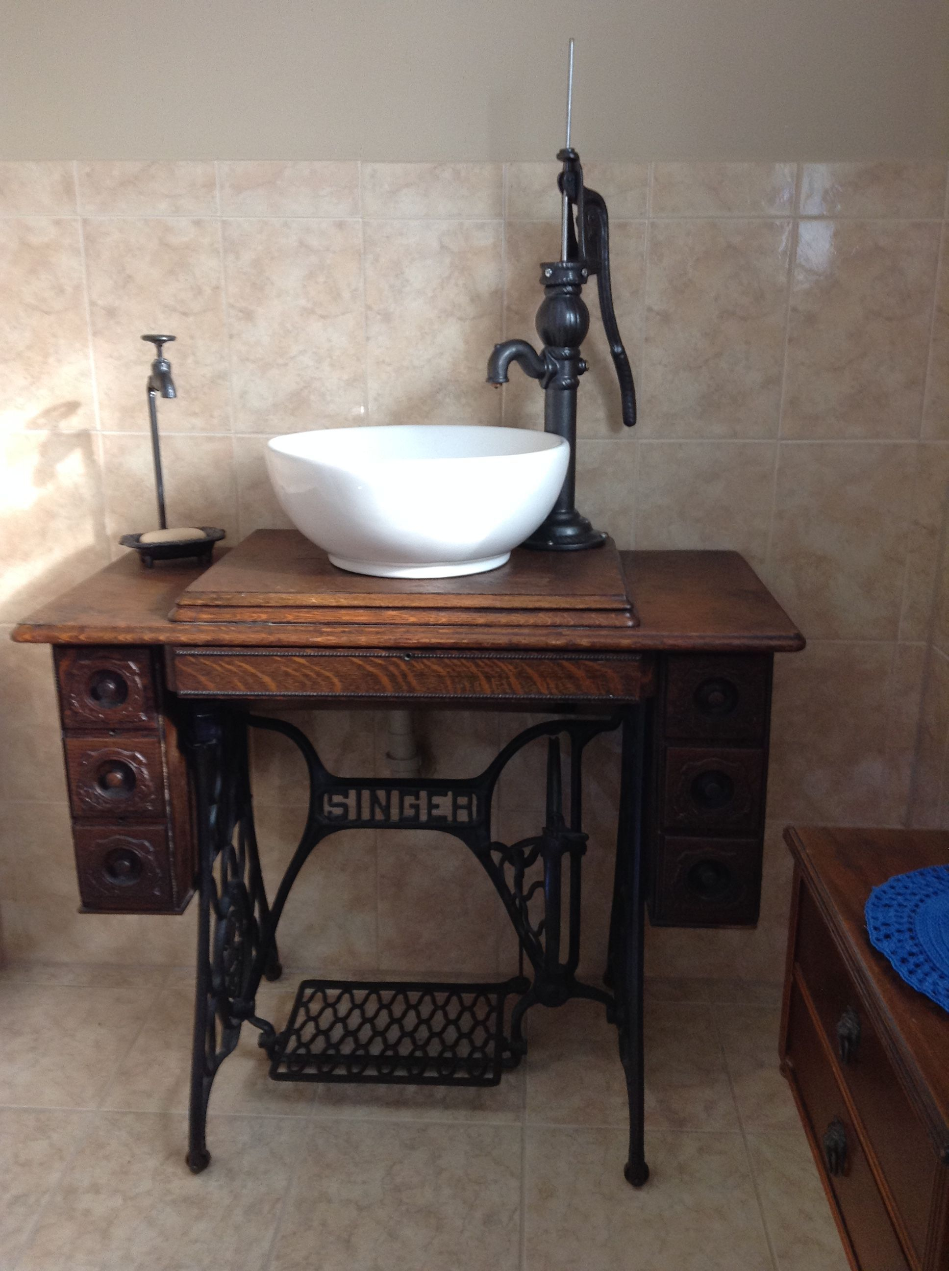 Robin S Singer Treadle Vanity Sink Vanity Made With Electronic Valve For Turning Water On And Off St Cheap Bathroom Remodel Diy Bathroom Bathrooms Remodel
