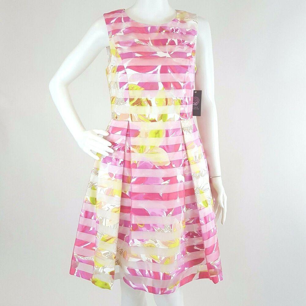 Vince Camuto Dress Floral Organza Pleats Size 6 Pink Burnout Stripe Msrp 188 Vincecamuto Fi Long Sleeve Floral Dress Chiffon Shift Dress Womens Sheath Dress [ 1000 x 1000 Pixel ]